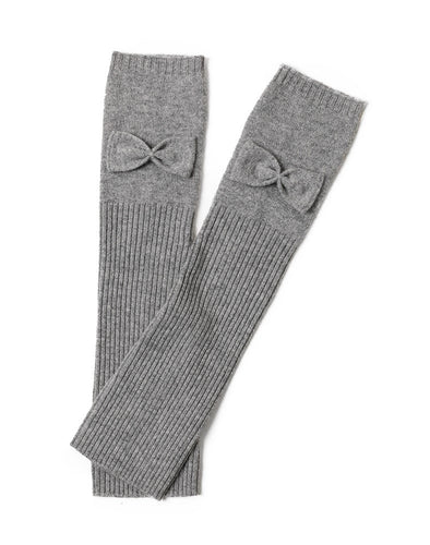 grey Texting Cashmere Bow Fingerless Gloves