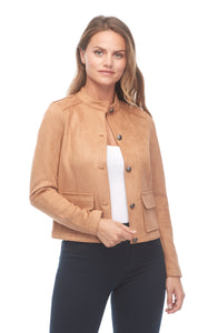 Faux Suede Button Front Jacket