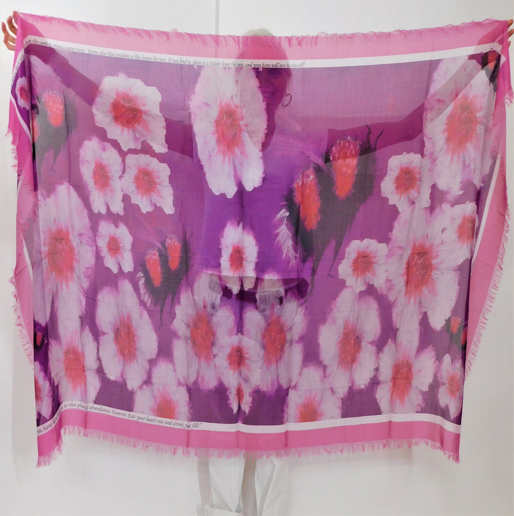 Pink Cross Pollinate Silk Blend Scarf