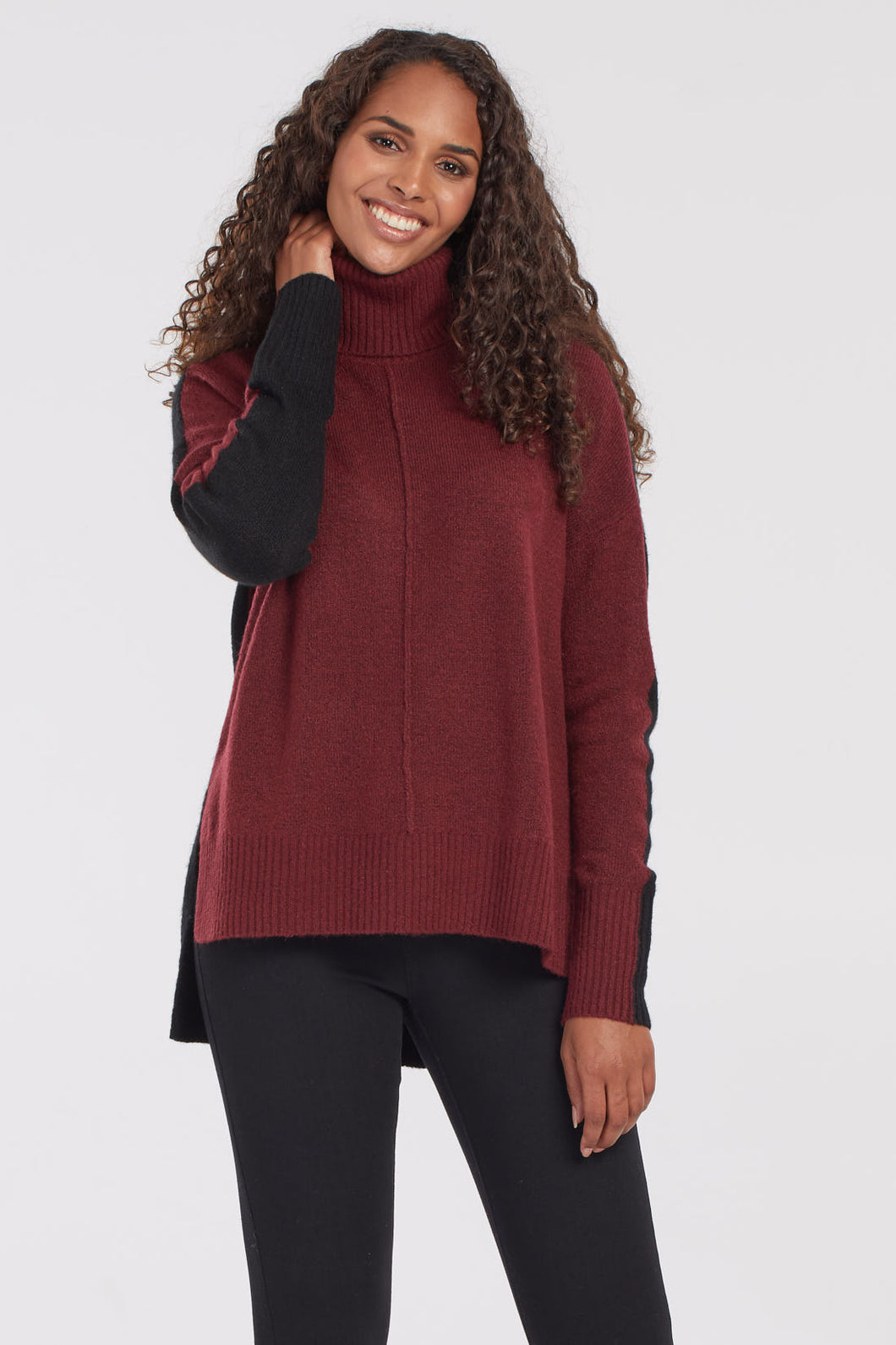 Colour Block Long-Sleeve Turtleneck