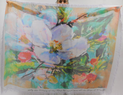 Large Almond Blossom Silk Blend Scarf