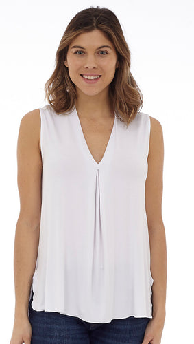 V-Neck Sleeveless Top With Front Pleat