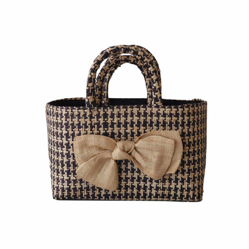 Check Tote With Bow