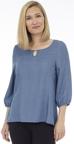 3/4 Sleeve Top with Cut-Out Neck Detail