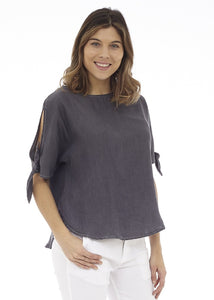 Short Sleeve Cold Shoulder Top with Tie Detail at Cuff