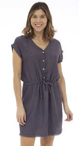 Cap Sleeve V-Neck Dress With Waist Drawstring