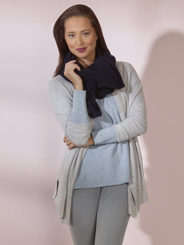 Grey Cashmere Cardigan Ribbed