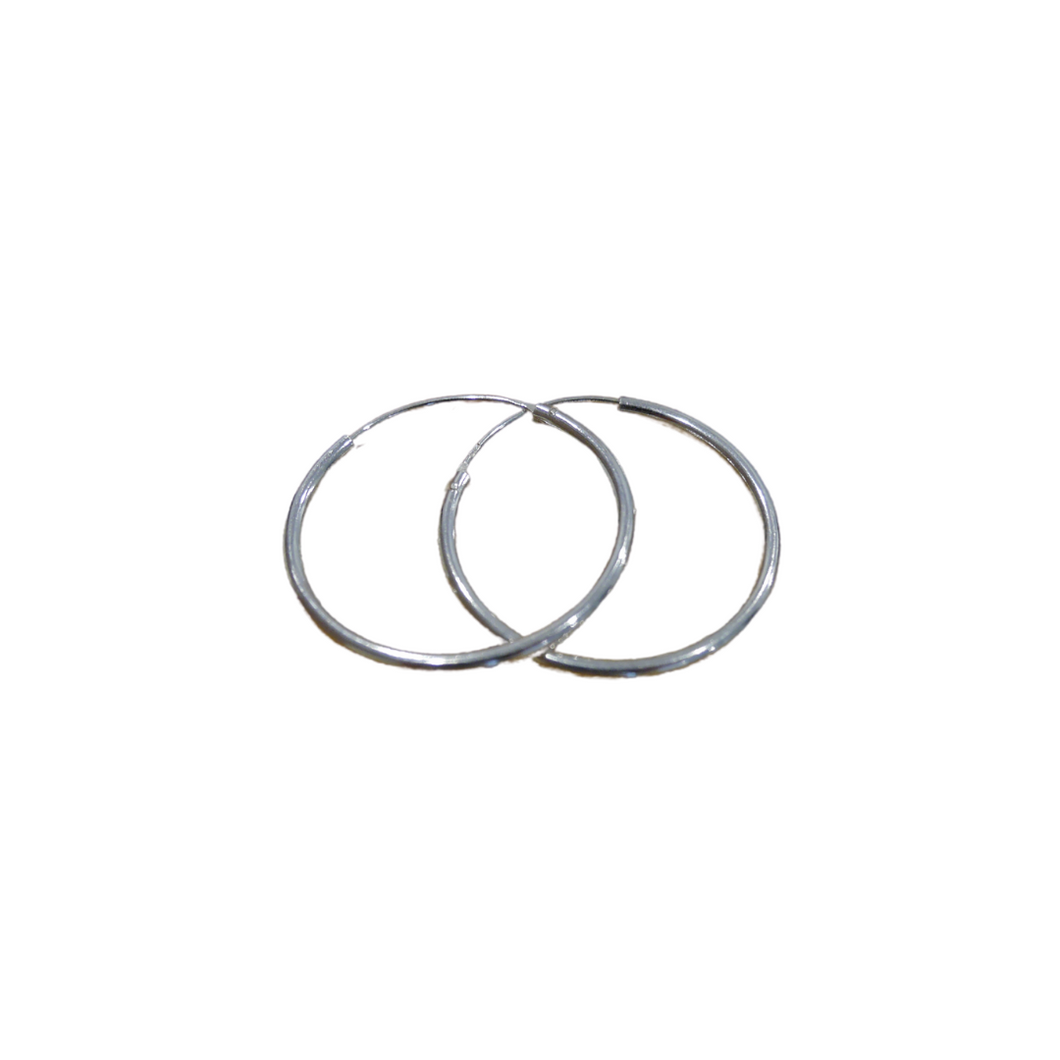 Round Sterling Silver Hoop Earrings