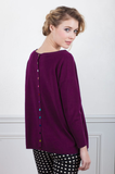 Button-Back Cashmere Crew Sweater