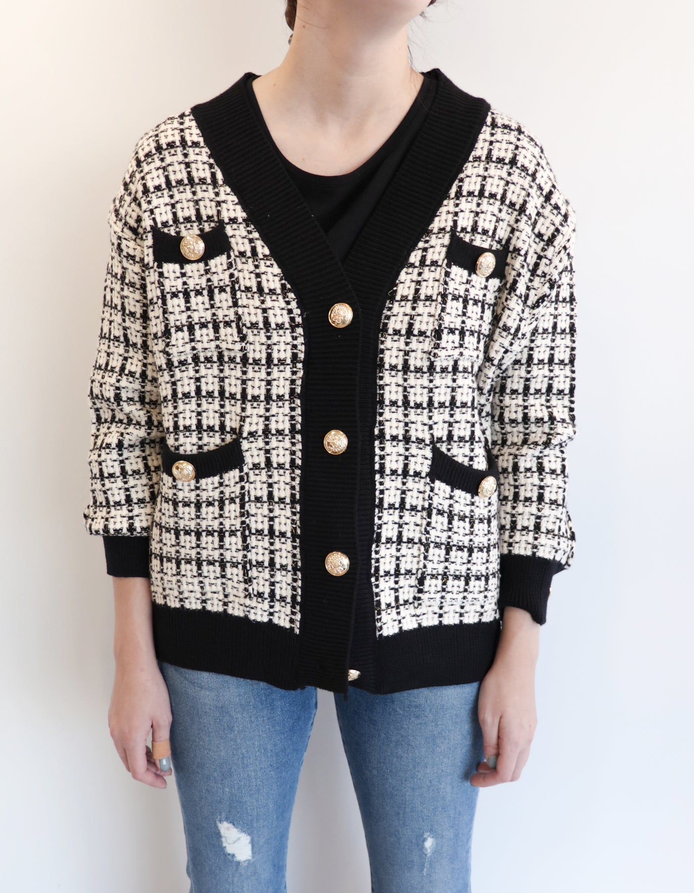 Coco Boyfriend Button-Up Sweater