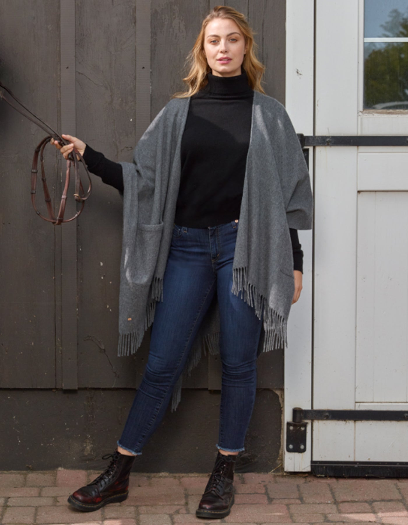 Fringe Poncho with Pockets