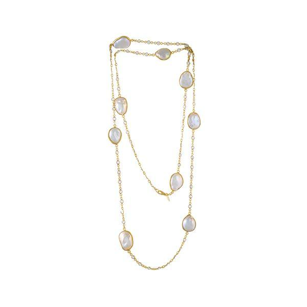 Pearl Crystal Gold Necklace