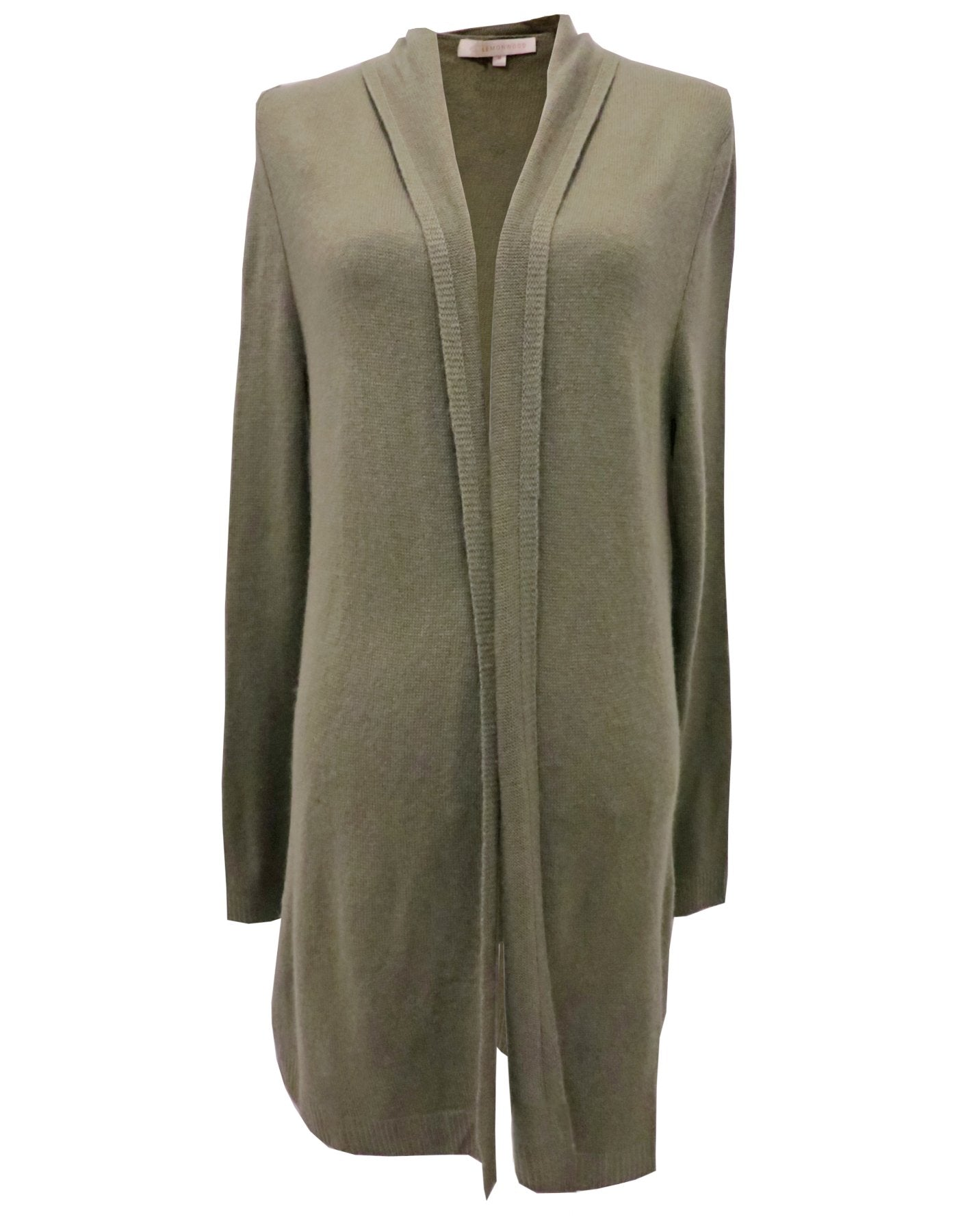 Rolled Collar Cashmere Cardigan - Olive