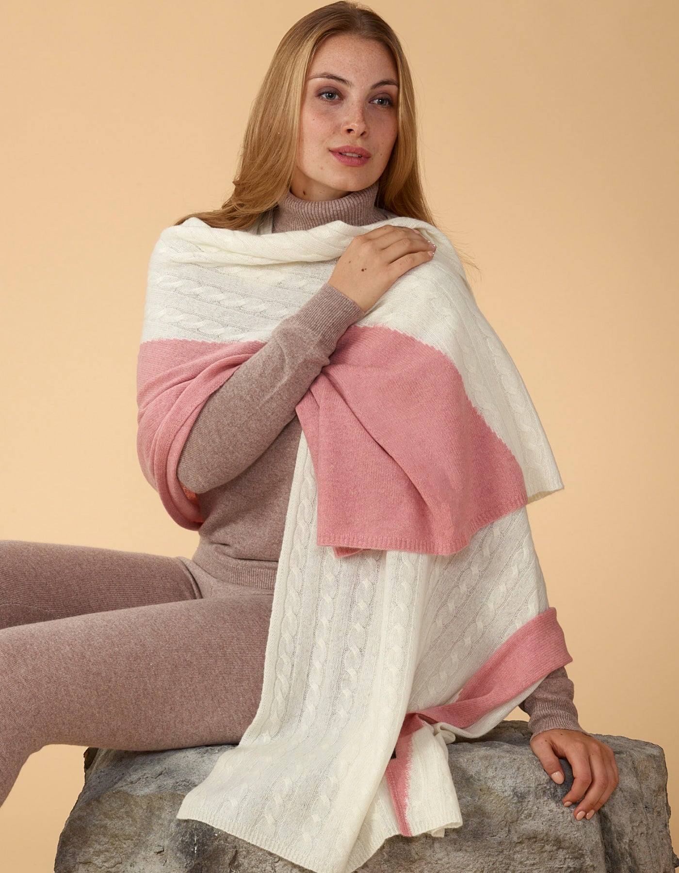 Two-Colour Cable Knit Wrap
