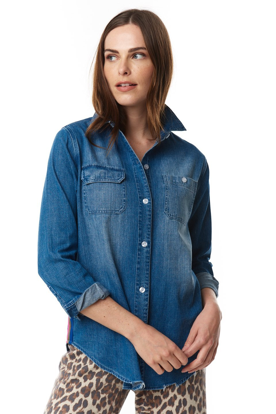 On Track Denim Button-Up