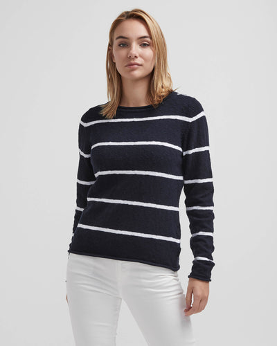 Navy/White Striped Boatneck Sweater