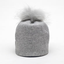 Load image into Gallery viewer, Grey Cashmere Hat w Pom Cashmere Blend