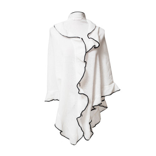 cream Cashmere Wrap Triangle Ruffle Shawl