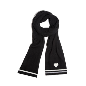 Black Cashmere Heart Scarf