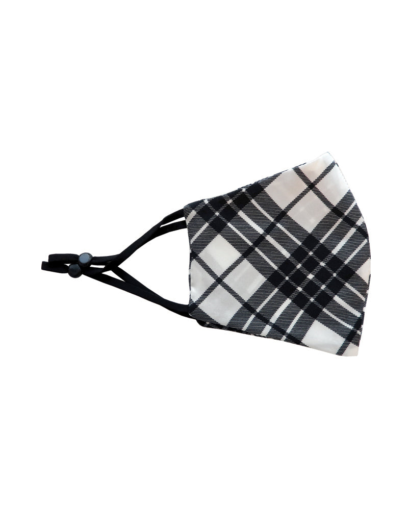 Fashion Face Mask - Black & White Plaid Silk