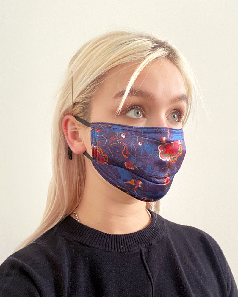 Pleated Fashion Face Mask - French Floral Silk