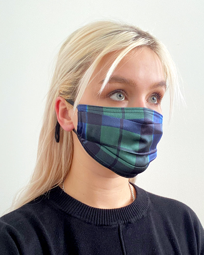 Pleated Fashion Face Mask - The Kate Plaid Silk