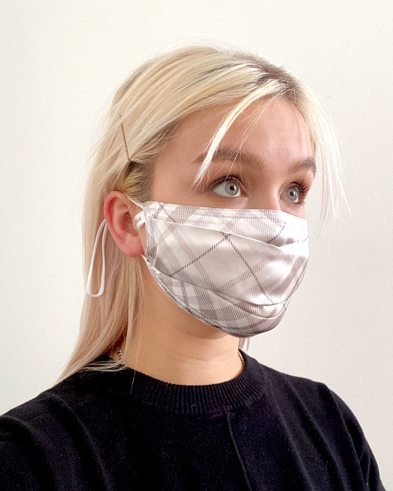 Pleated Fashion Face Mask - White Plaid Silk