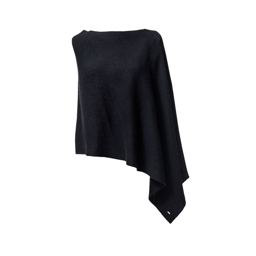 Black Cashmere Ribbed Poncho Cape