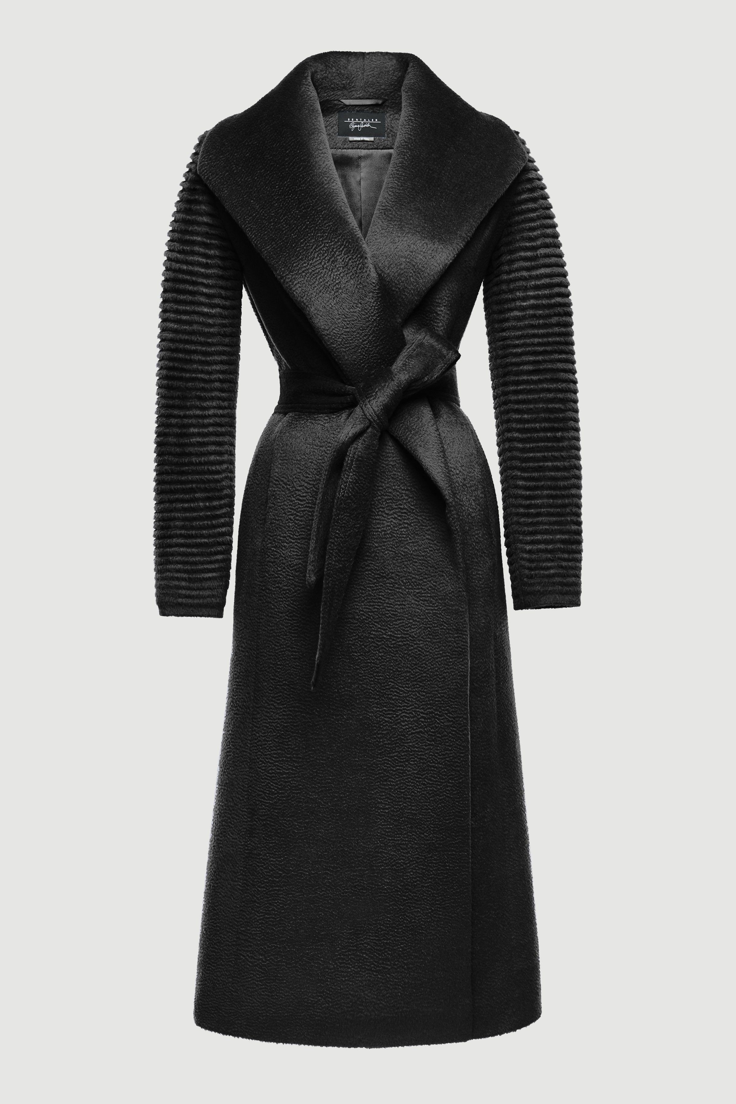 Long Shawl Collar Wrap Coat Rib Sleeve