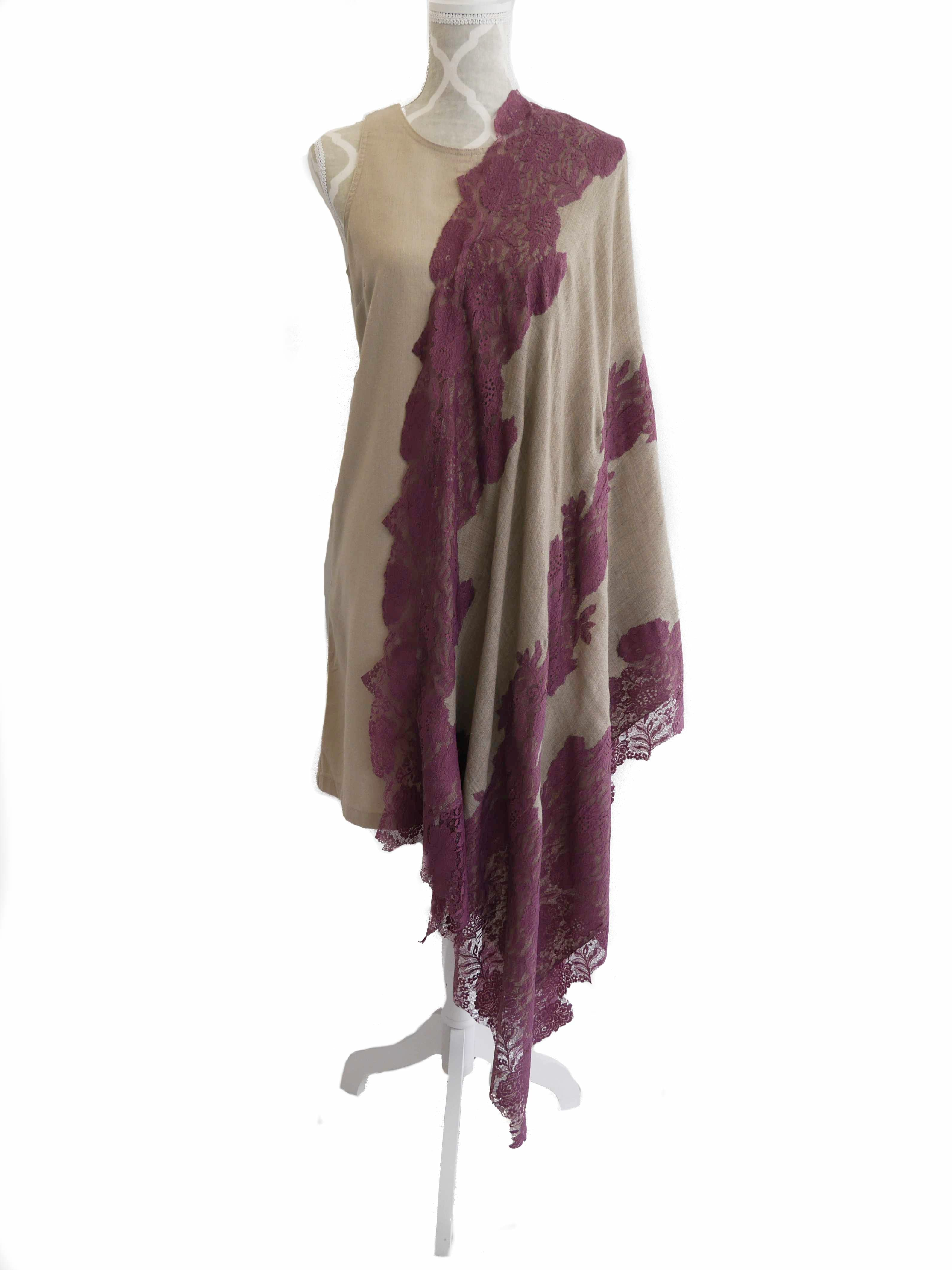 Large Cashmere and Lace Scarf