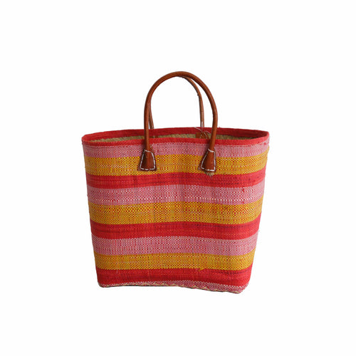 Pink, Yellow, Red Striped Small Market Basket/Tote