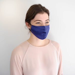 Fashion Face Mask - Indigo Blue Silk