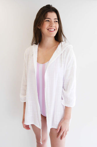 Hooded Cover Up/Cardi - White