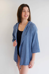 Hooded Cover Up/Cardi - Denim