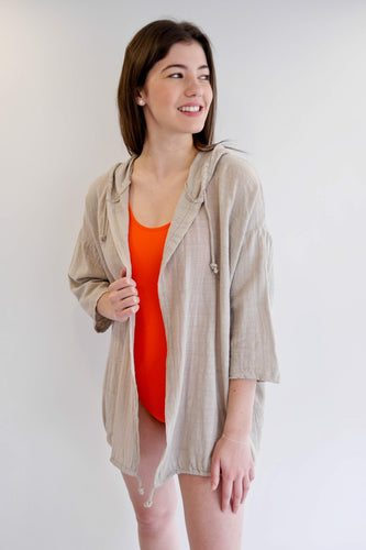 Hooded Cover Up/Cardi - Beige
