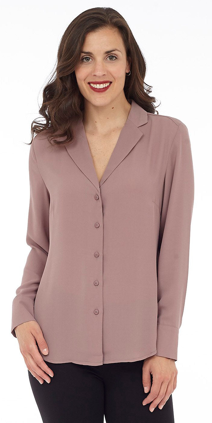 Long-Sleeve V-Neck Button-Up Blouse
