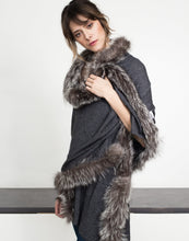 Load image into Gallery viewer, Grey Cashmere Rose Wrap with Fox Trim