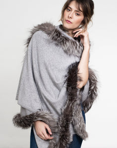 Grey Cashmere Rose Wrap with Fox Trim