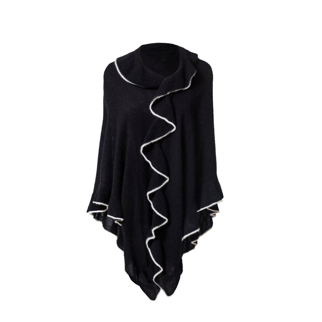 black Cashmere Wrap Triangle Ruffle Shawl