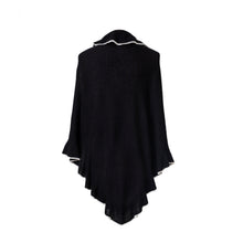 Load image into Gallery viewer, black Cashmere Wrap Triangle Ruffle Shawl