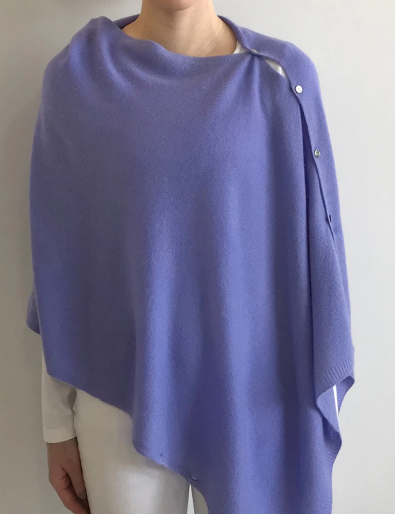 Lemonwood Cashmere Peony Button Poncho Darling Violet