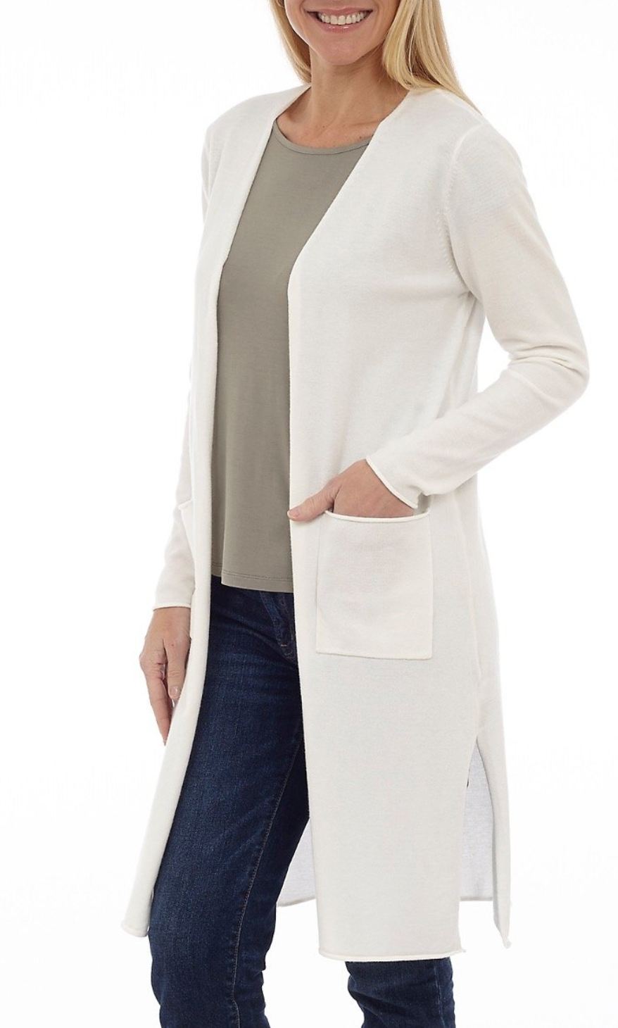 Long Body Open Cardigan with Pockets