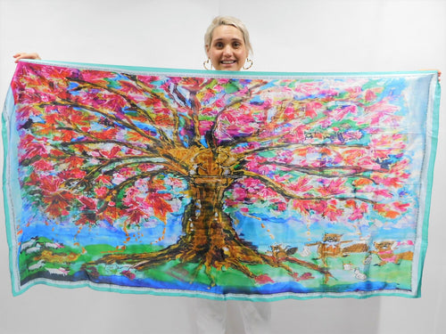 Tree of Life Silk Blend Scarf
