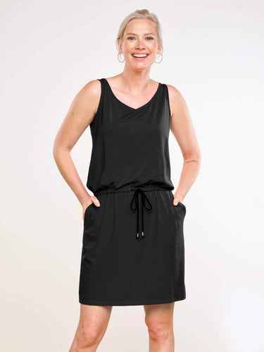 Amy Drawstring Dress - Black