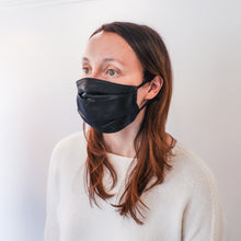 Load image into Gallery viewer, Pleated Fashion Face Mask - Black Silk