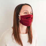 Pleated Fashion Face Mask - Burgundy Silk