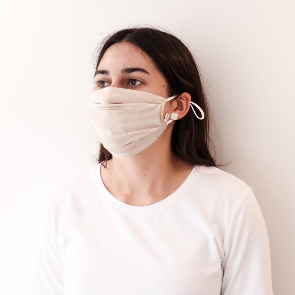 Pleated Fashion Face Mask - Champagne Silk
