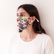 Load image into Gallery viewer, Pleated Fashion Face Mask - Fern & Floral Silk