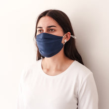 Load image into Gallery viewer, Pleated Fashion Face Mask - Indigo Silk
