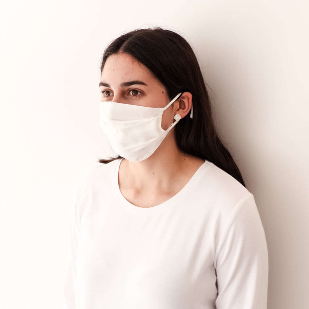 Pleated Fashion Face Mask - White Silk